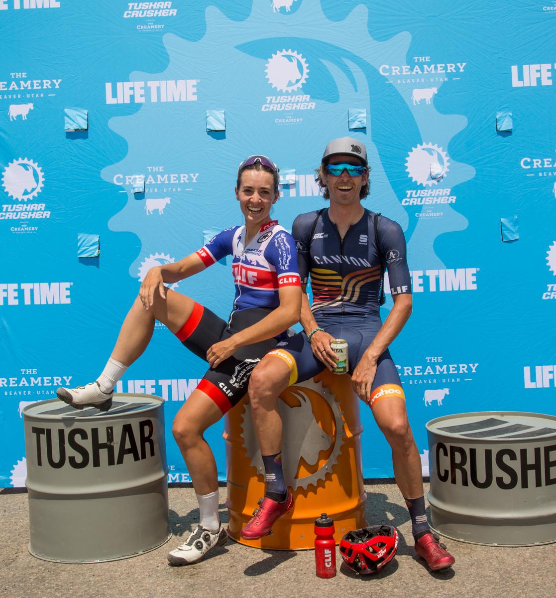 Peter Stetina & Sofia Gomez-Villafañe, winners of the 2021 Crusher in the Tushar. Photo courtesy Life Time