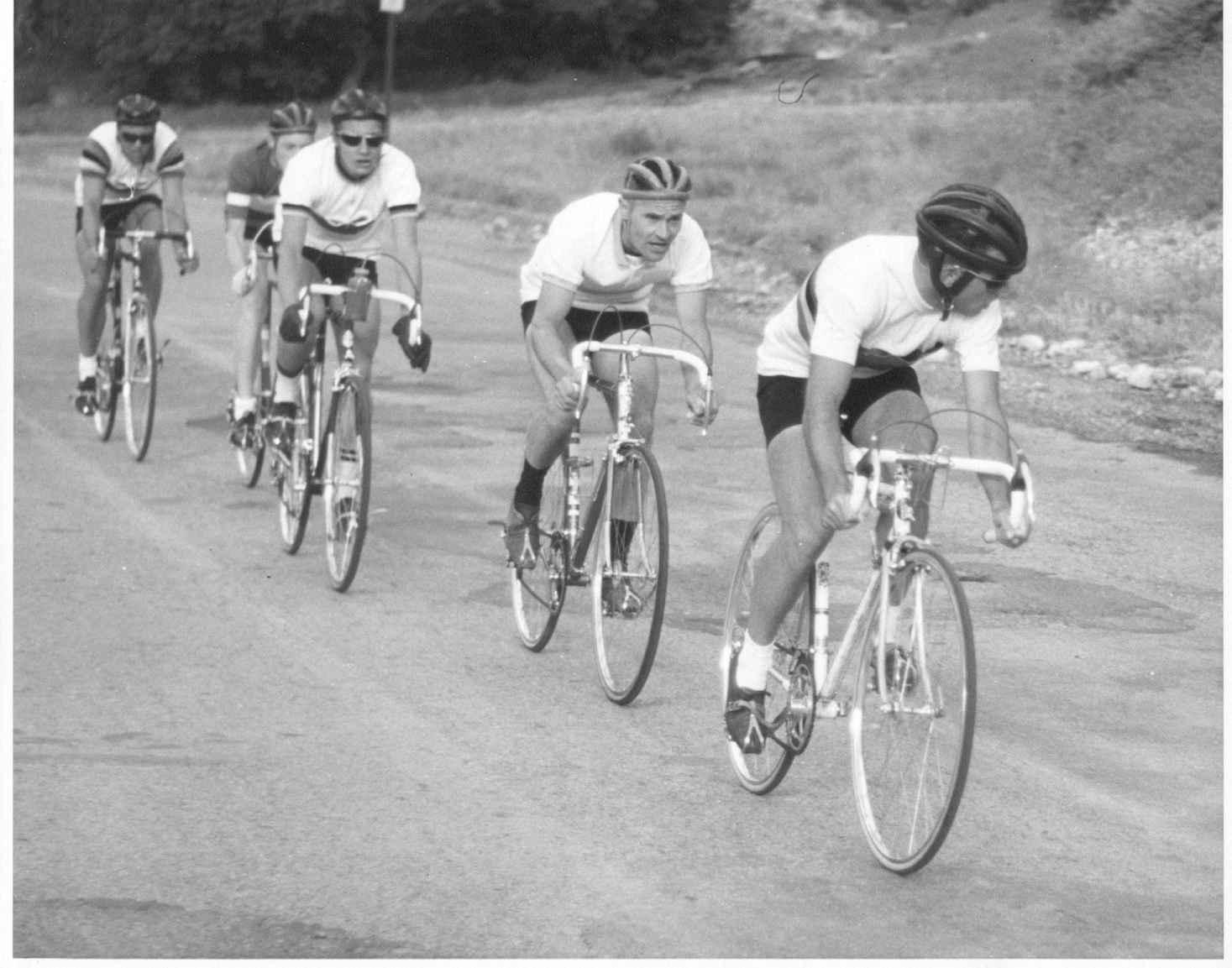 Pete Locke, Bill Young, Rodney Golsan, Unknown, Jan Hyde - Memorial Day race circa 1964. Photo courtesy Jan