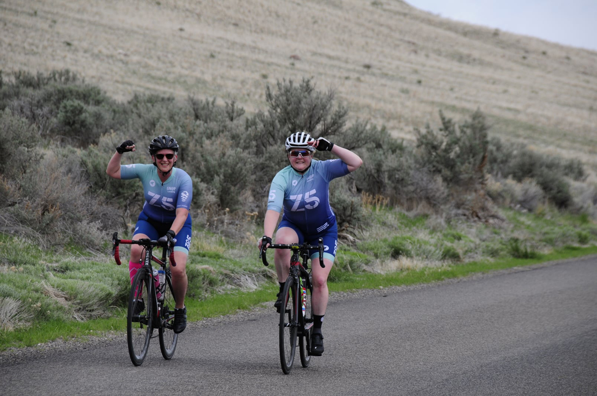 Wendy Gusner Pinson and Kelly McPherson at the West Mountain Road Race. Photo by Cameron Scott
