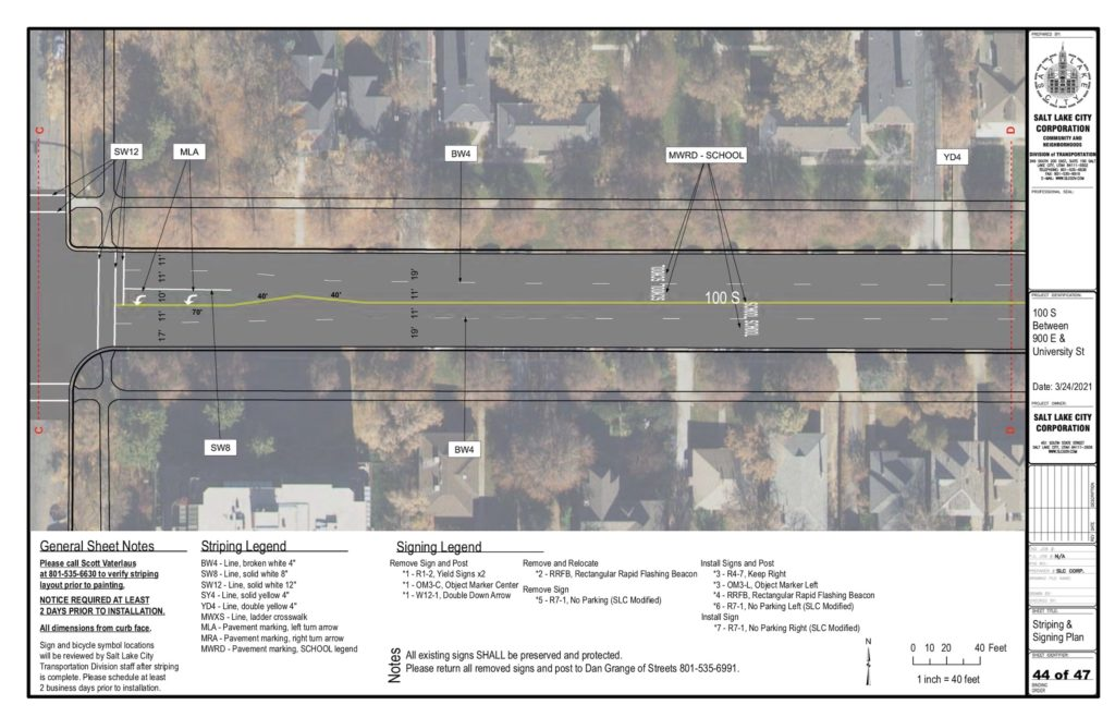 100 South Design Drawing showing wide lanes between 1100 and 1200 E, and no bike lanes or road diet.