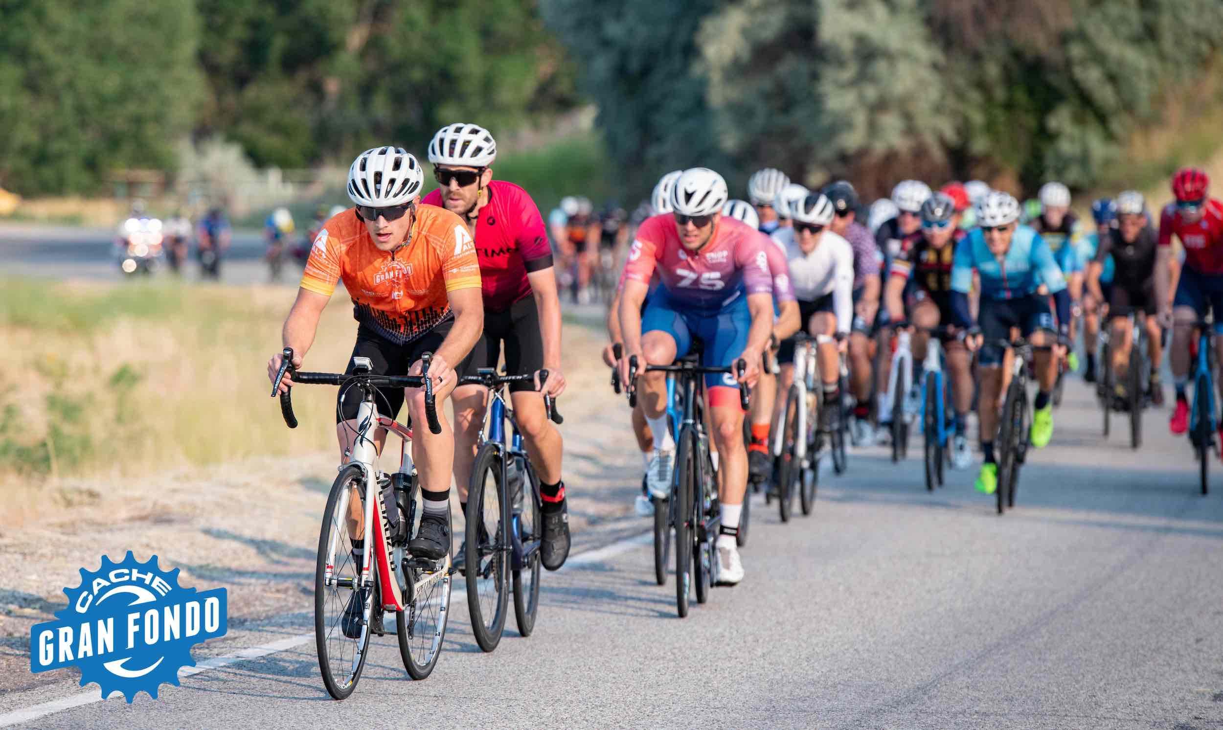 Riders participating in the 2021 UCI Cache Gran Fondo. Photo courtesy Cache Gran Fondo