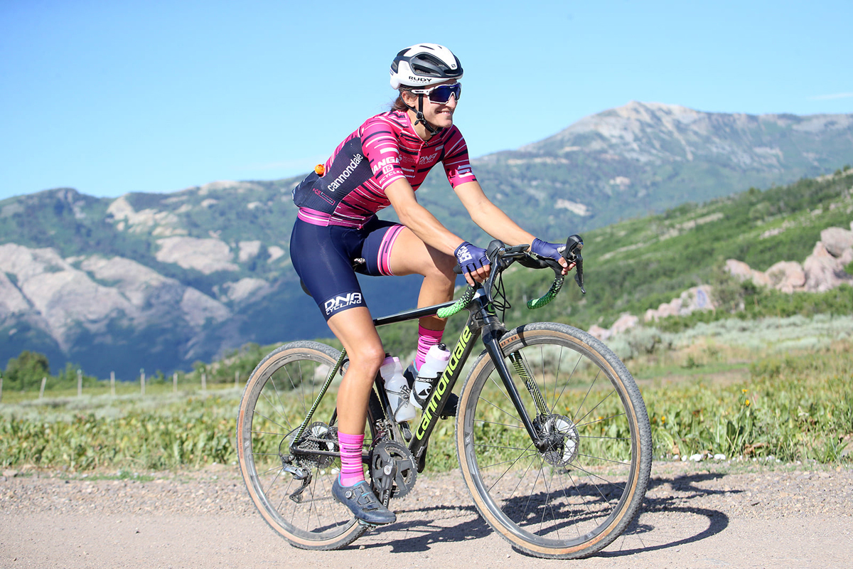 Hanna Muegge grinding some gravel. Photo by Cathy Fegan-Kim, cottonsoxphotography.com