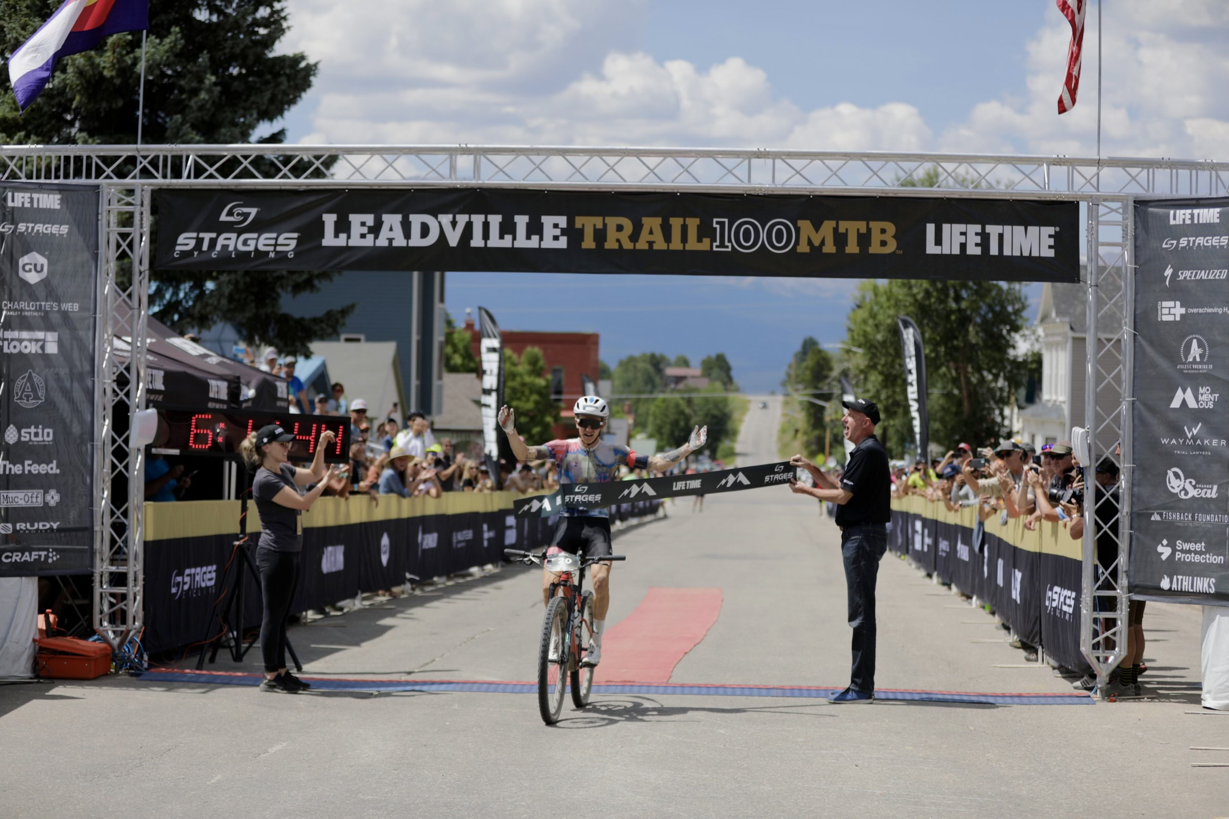 Keegan Swenson crosses the line to win the 2021 Leadville Trail 100. Photo courtesy Life Time
