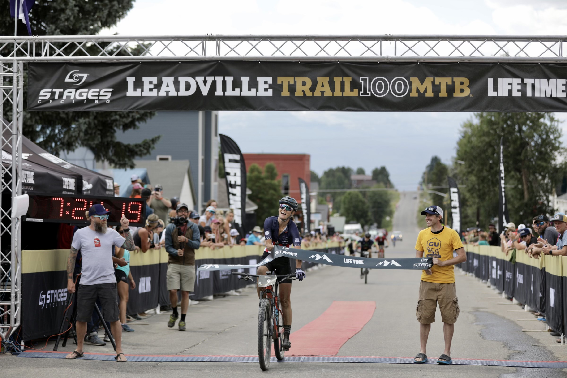Rose Grant crosses the line to win the 2021 Leadville Trail 100. Photo courtesy Life Time