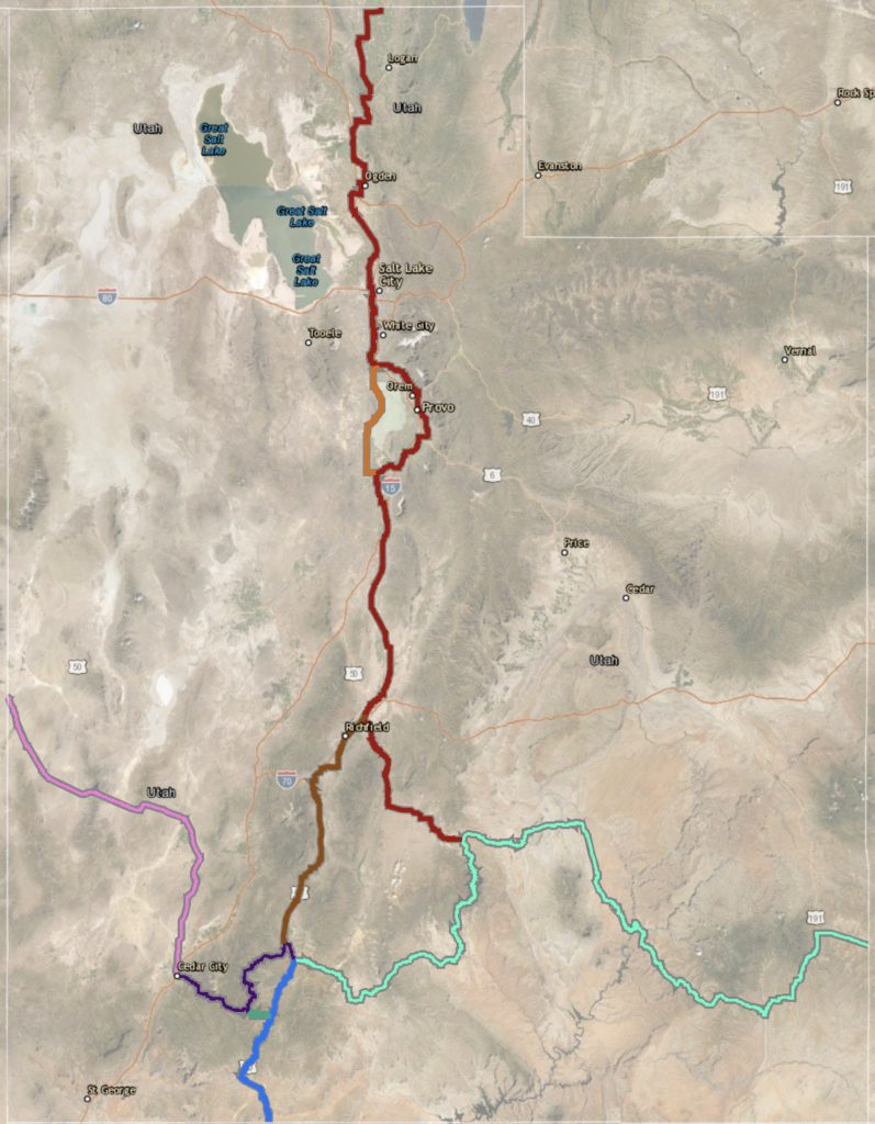 A map of the Utah section of the US Bike Route System.