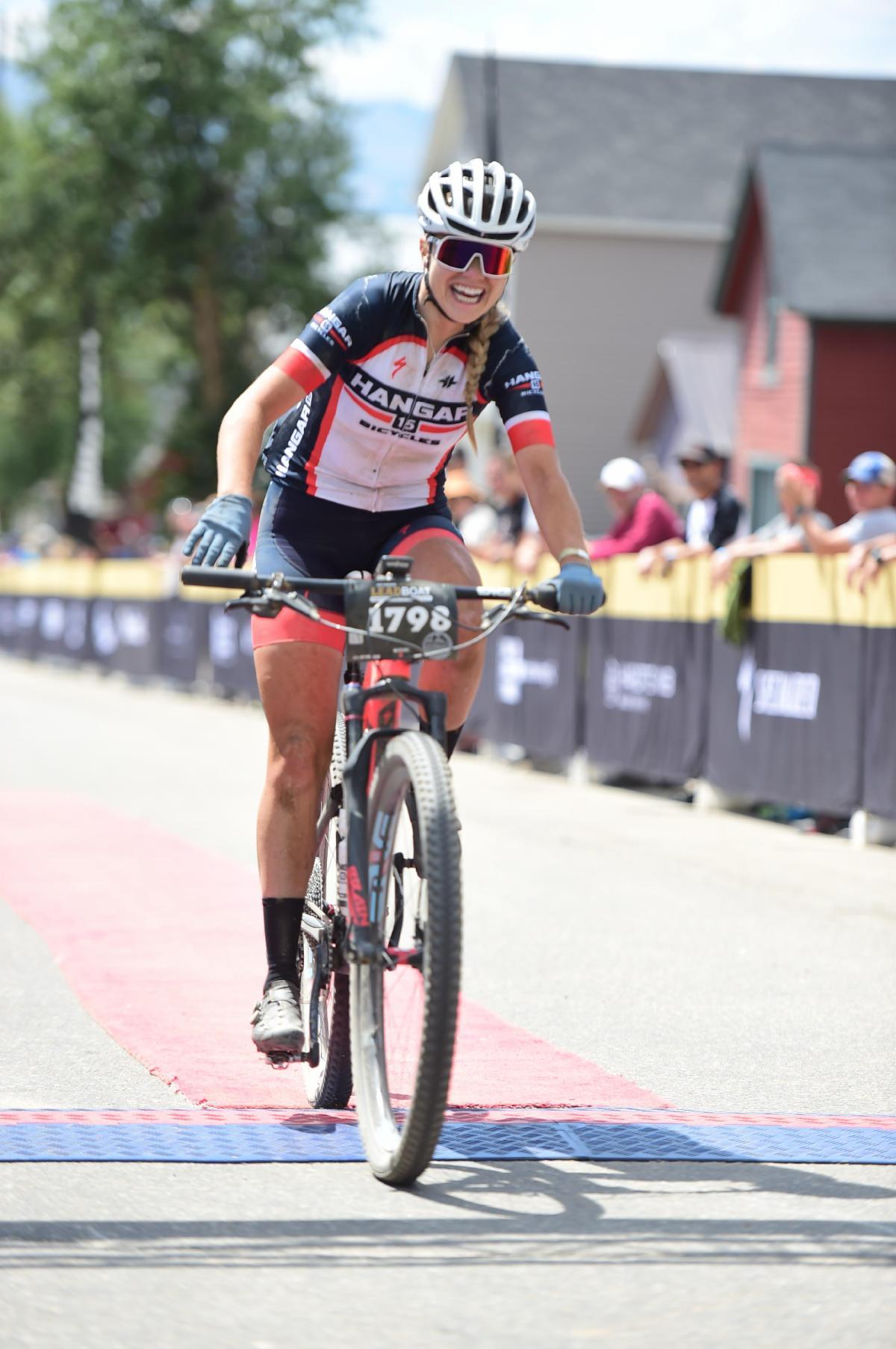 Melisa Rollins finishing 6th at the Leadville 100. Photo courtesy TWENTY24 Pro Cycling