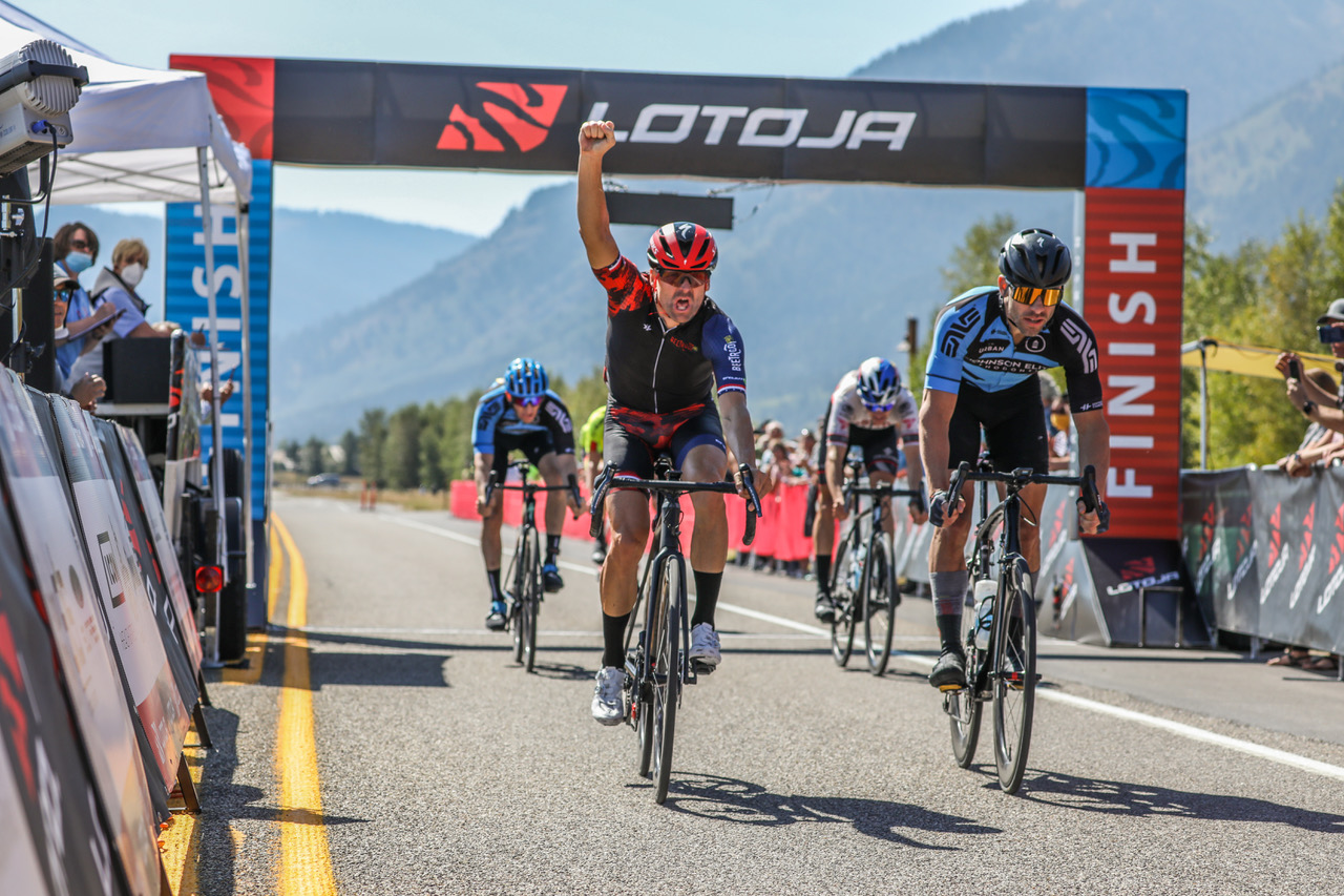 Cameron Hoffman (left, Team Endurance360) reacts after beating Spencer Johnson (Team Johnson Elite Orthodontics) to the line for the Men's Pro 123 title in last year's LoToJa Classic. This year's event is set for Sept. 11 with more than 1,500 cyclists racing 203 miles from Logan, Utah, to Wyoming's Jackson Hole. Photo courtesy of Snake River Photos.