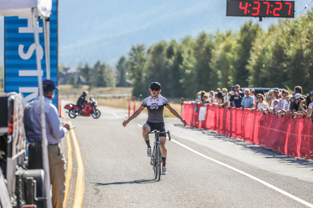 Lindsey Stevenson (Team Spry/Zone 5) crosses the finish alone at Jackson Hole Mountain Resort to win the Women's Pro 123 title in last year's LoToJa Classic. This year's event is set for Sept. 11 with more than 1,500 cyclists racing 203 miles from Logan, Utah, to Wyoming's Jackson Hole. Photo courtesy of Snake River Photos.