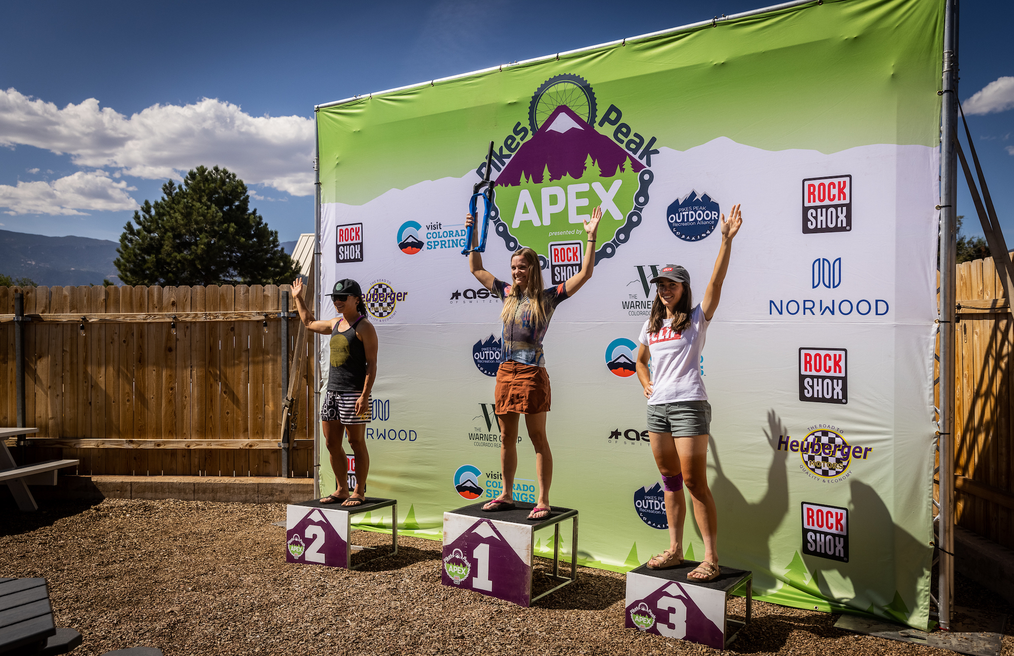 Women's podium at the 2021 Pikes Peak APEX/. Photo by James Stokoe Photography